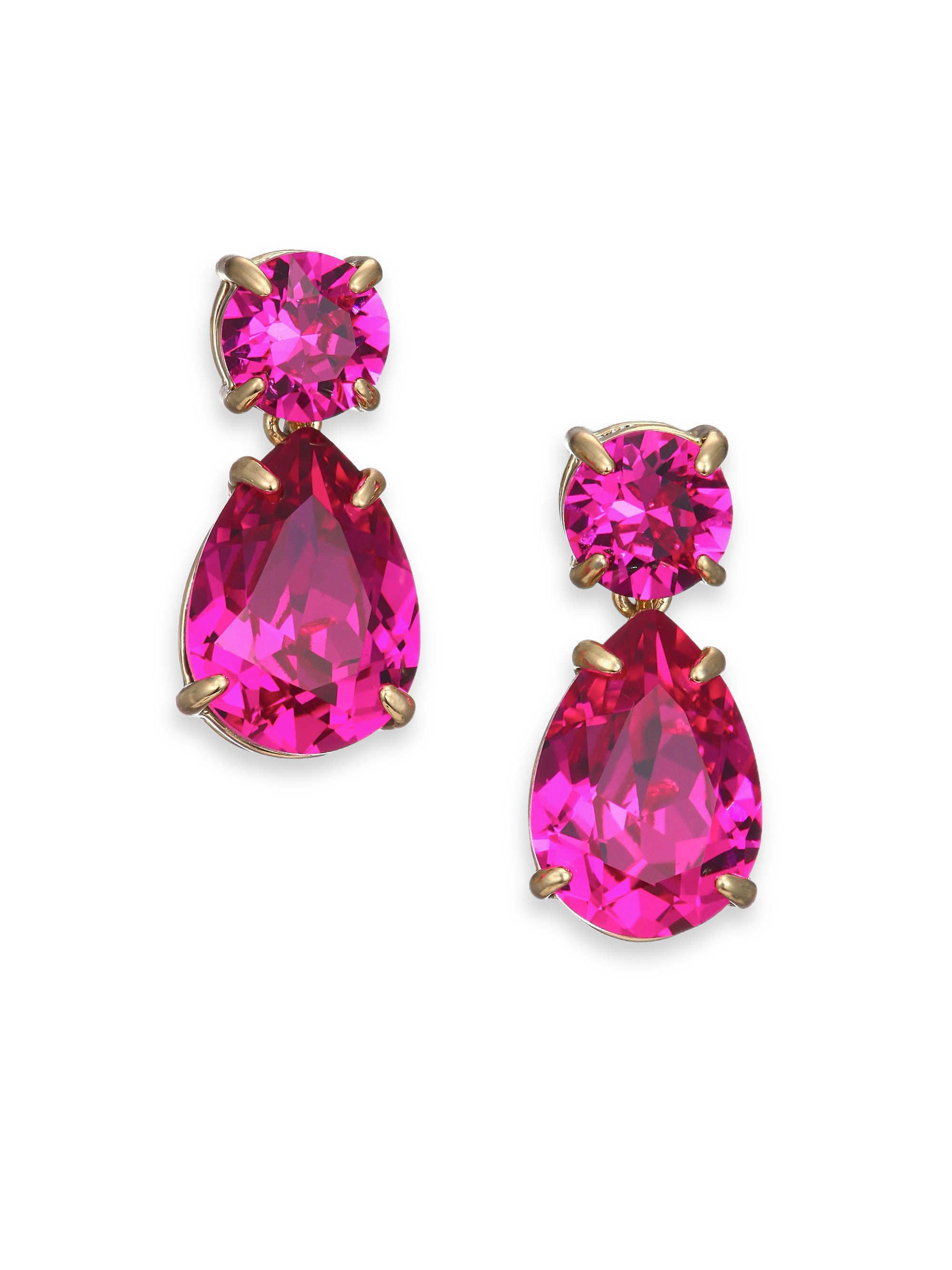 fa35ac4bc Kate Spade Fancy That Crystal Double-Drop Earrings/Fuchsia in Purple  (gold-fuschia) | Lyst