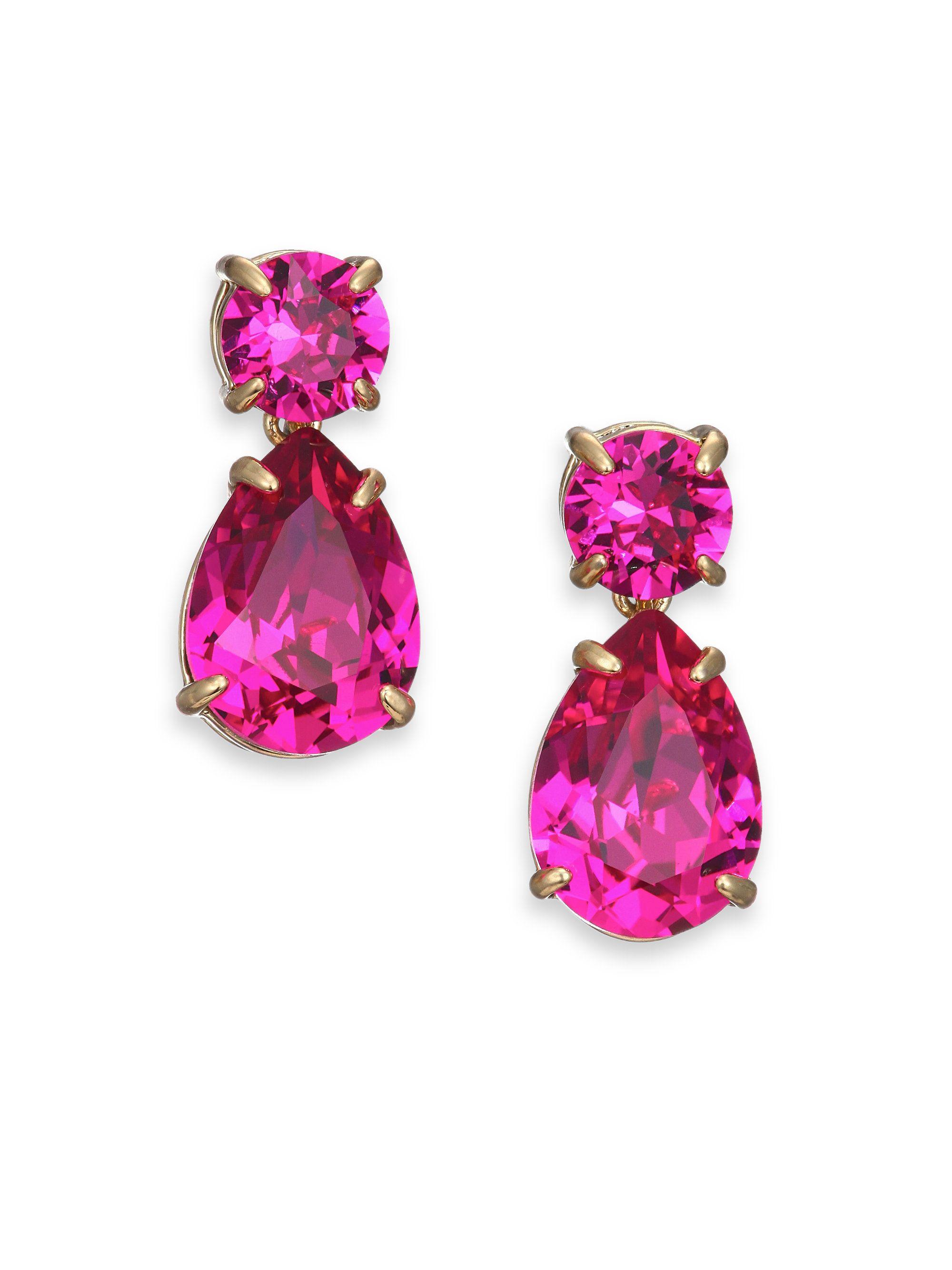 0233b45d4 Kate Spade Fancy That Crystal Double-Drop Earrings/Fuchsia in Purple  (gold-fuschia) | Lyst