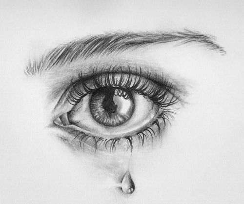 Minus the tear to indicate crying this is an amazing drawing of an eye they really captured the depth nicely