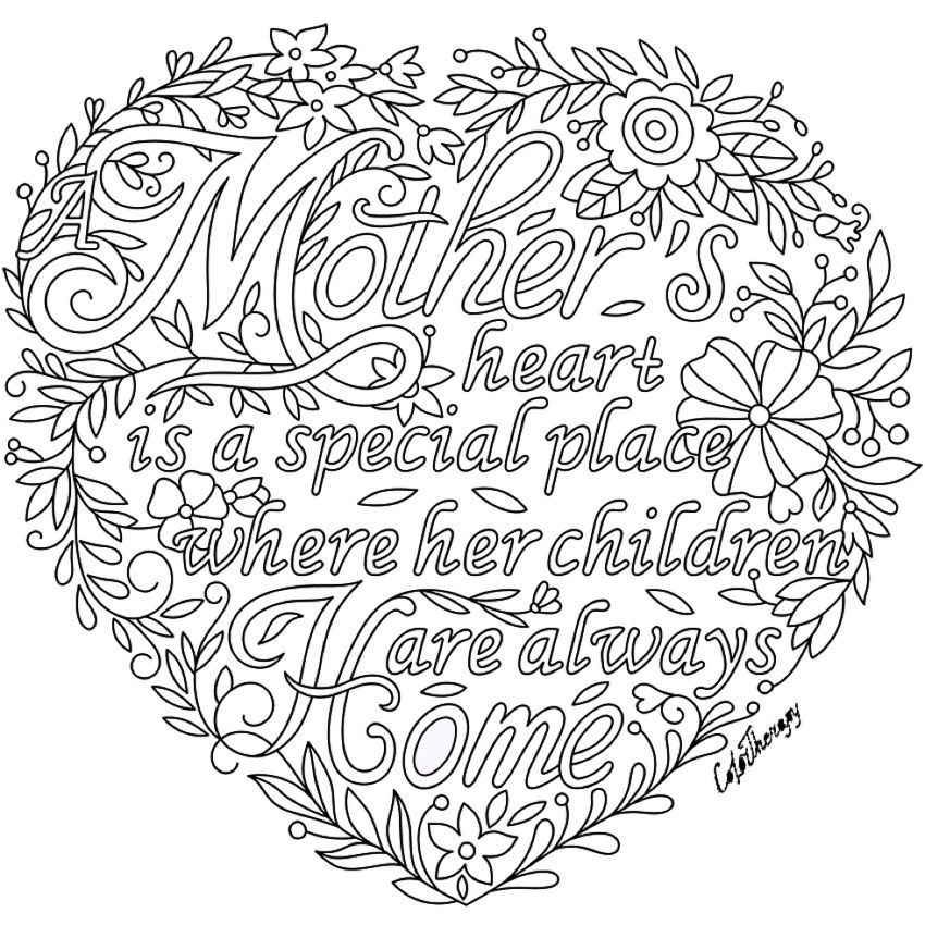 A Mother S Heart Love Coloring Pages Mom Coloring Pages Mothers Day Coloring Pages