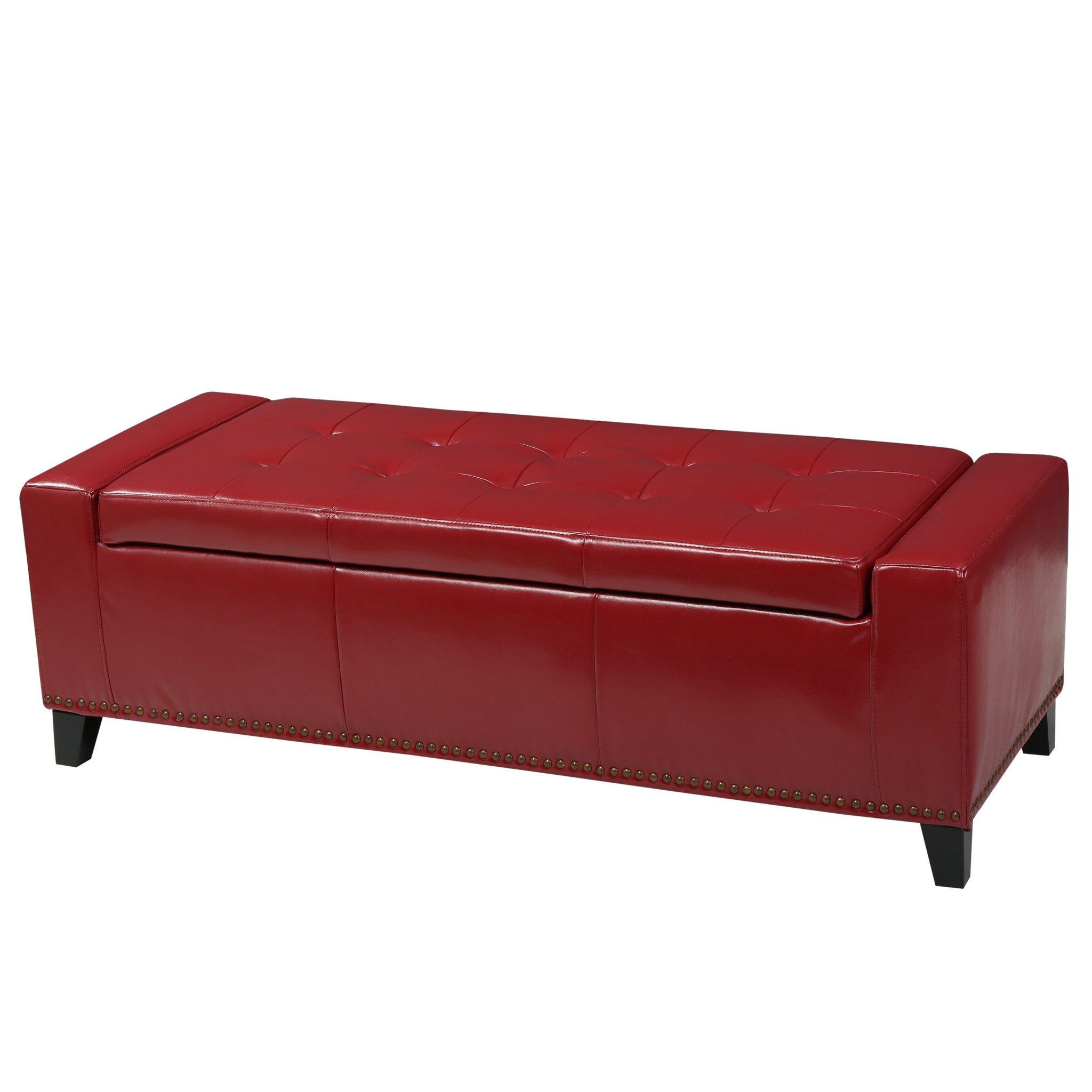 robin studded red leather storage ottoman bench storage ottoman