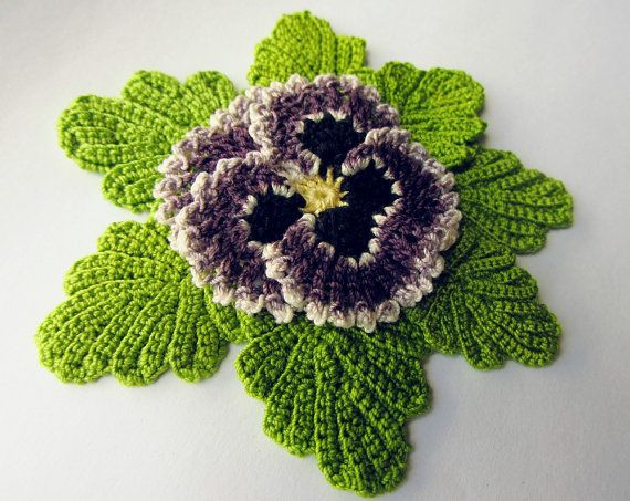 Irish crochet flower pattern crochet pansy pdf pattern instant pansy flower pattern crochet instant download pdf pattern photo tutorial realistic irish crochet viola leaf leaves dt1010fo