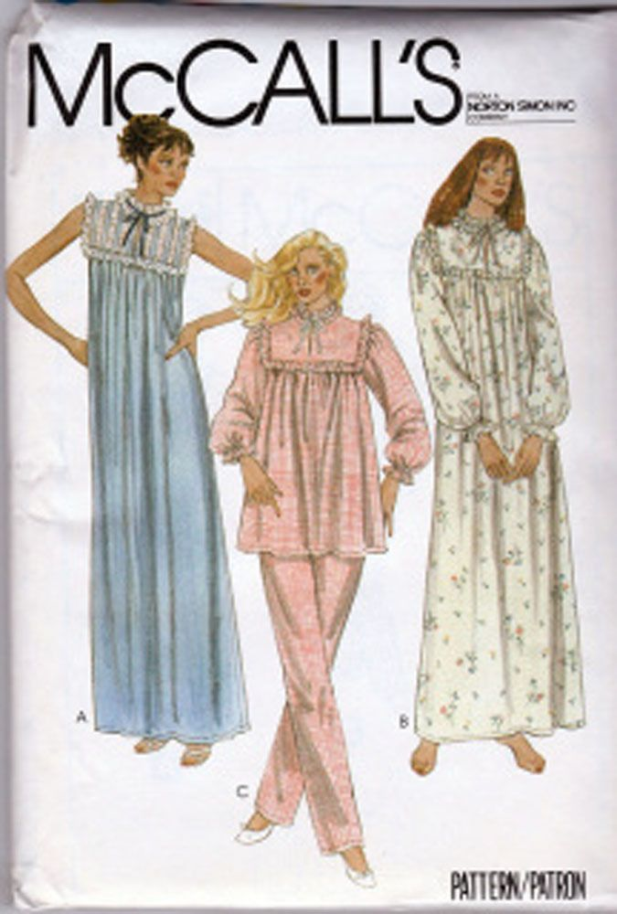 McCall\'s 7804 ©1981 Granny Nightgown and Pajama Pattern; Size 18-20 ...