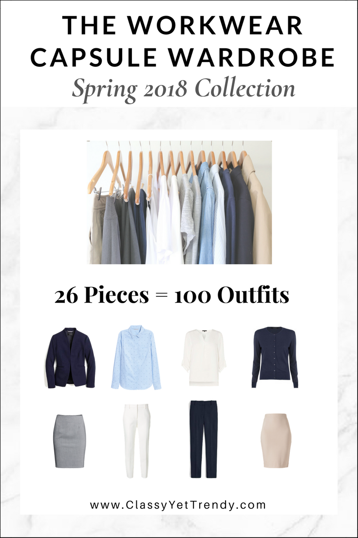 77233fc343b0 The Workwear Capsule Wardrobe  Spring 2018 Collection - There are 100 outfit  ideas included from just 26 clothes and shoes