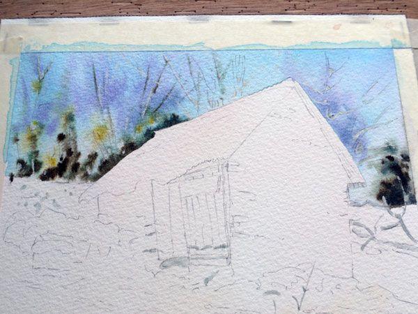 Aquarelle Watercolor Baraque Neige 10 Tutoriels Peinture