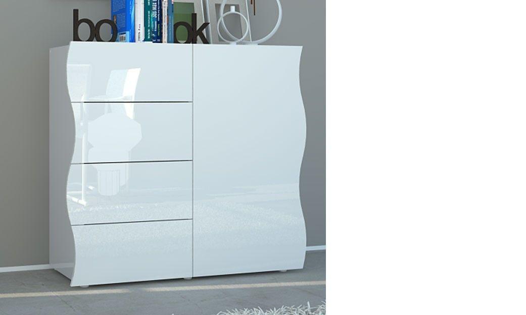 Buffet Blanc Laqué Design 1 Porte Et 4 Tiroirs Swell Buffet Blanc