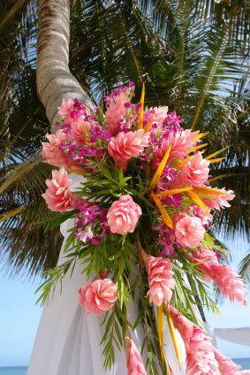 Tropical Flower Arrangements Wedding Flowers Beach