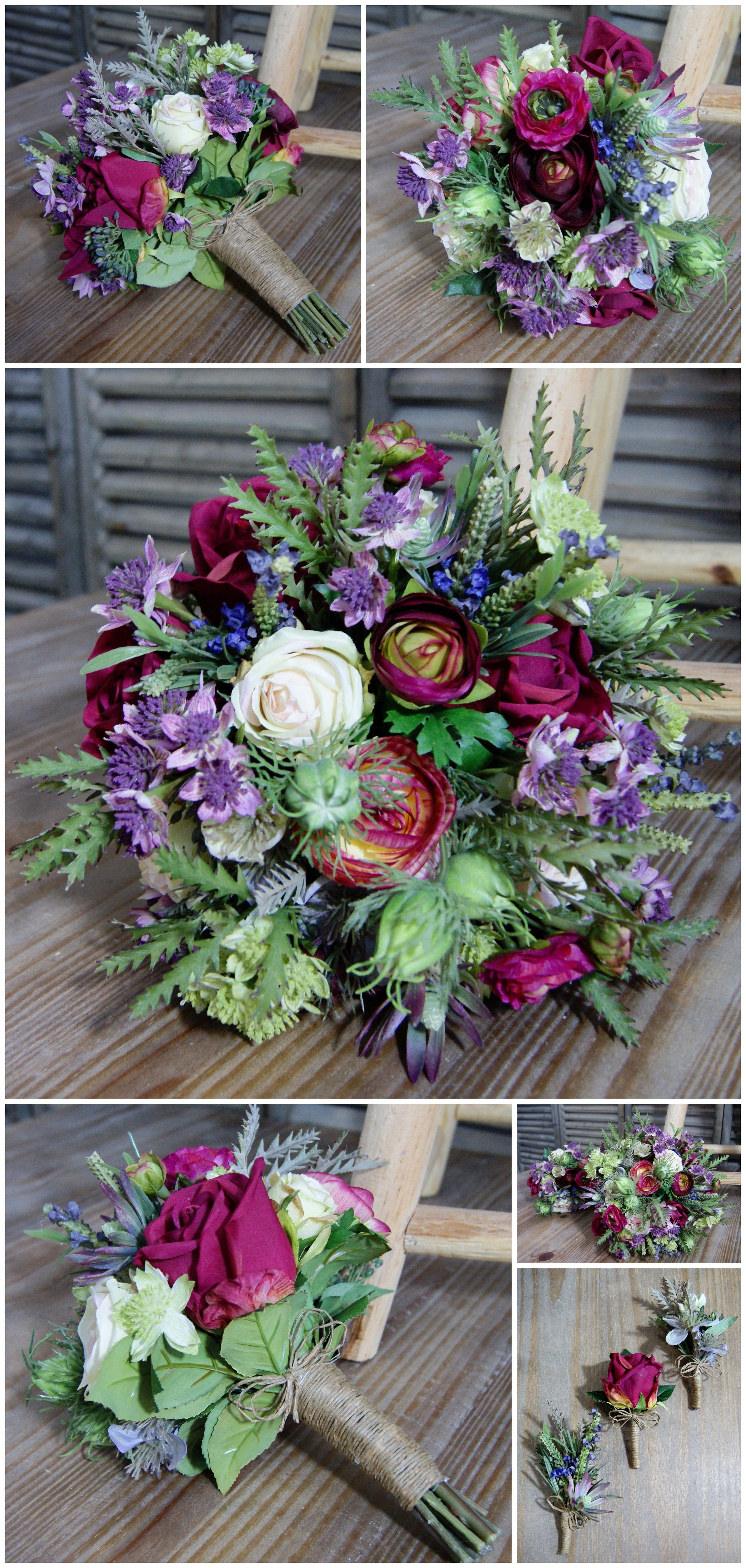 Vibrant, Wild Wedding Flowers for a Rustic Theme Artific