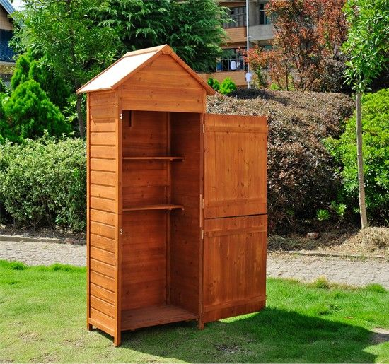 wooden garden shed tool storage cabinet box build it into the fence