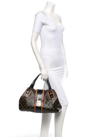2fac769a8e5d Brown and tan monogram coated canvas Louis Vuitton Mirage Griet bag with  black glazed vachetta piping
