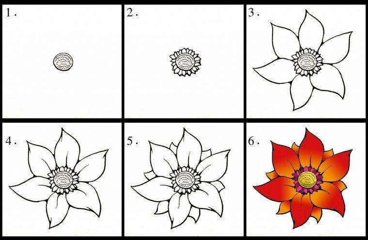 Come Disegnare Un Fiore Tutorial Per Disegni Per Bambini Sei Passi
