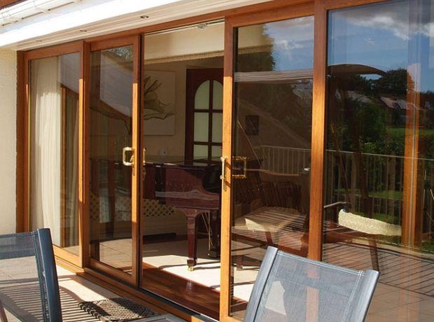 Inline Sliding Patio Doors: Four Pane Golden Oak Inline Sliding Patio Doors  With Two Gold