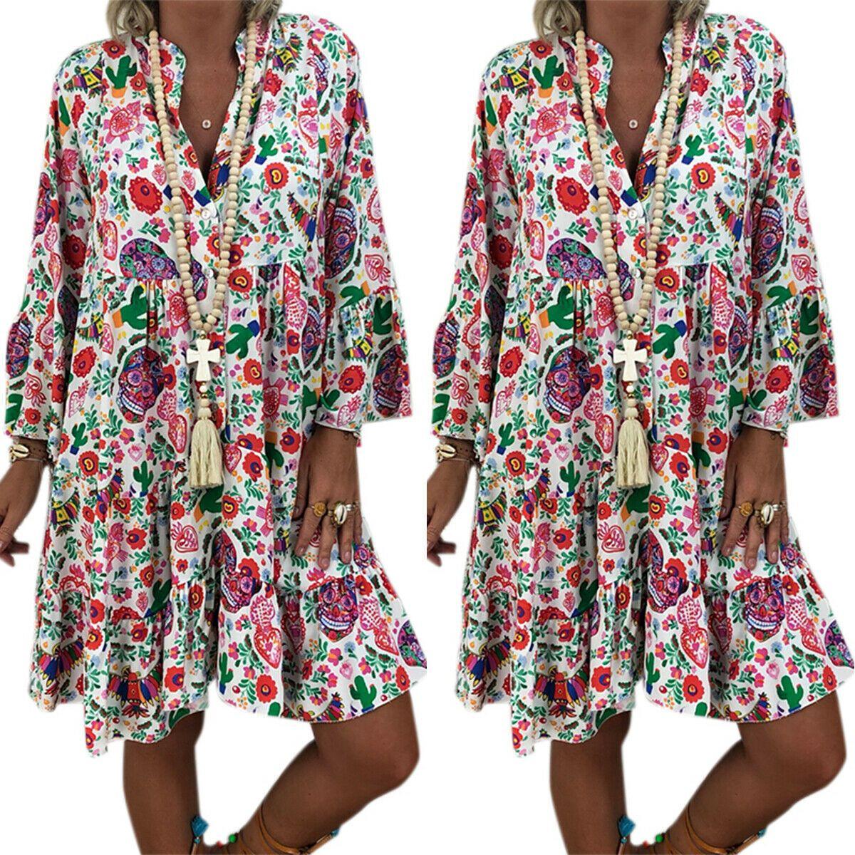 Boho Damen Blume Maxikleid Lang Sommerkleid Strandkleid Casual Tunika Kleid 42