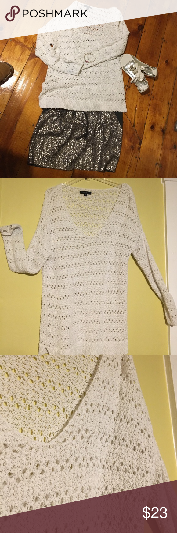 Very nice Ann Taylor Sweater This Ann Taylor sweater is in great used condition. Will need a camisole or t-shirt underneath. Perfect for the spring or summer 🌞 Ann Taylor Sweaters Crew & Scoop Necks