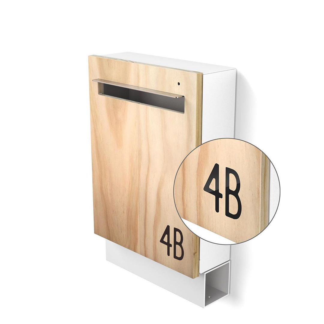 Javi Wall Mount Letterbox In White Newspaper Holder Clear Timber Front And Black Street Number Made And Designed In Melbourne Australia Javidesign
