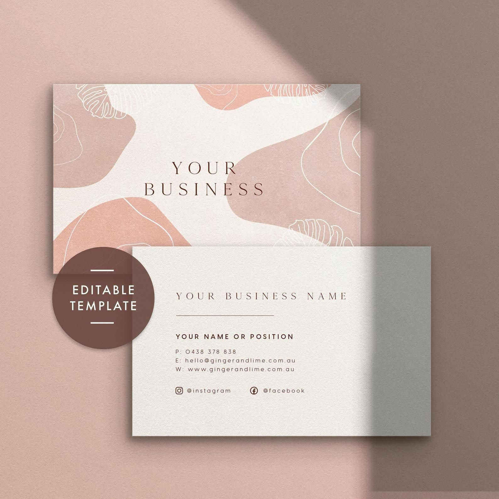 Business Card Template Instant Download Personalized Business Card Premade Business Card Template Business Cards Business Card Design Pretty Business Cards Business Cards Layout Business Stationery