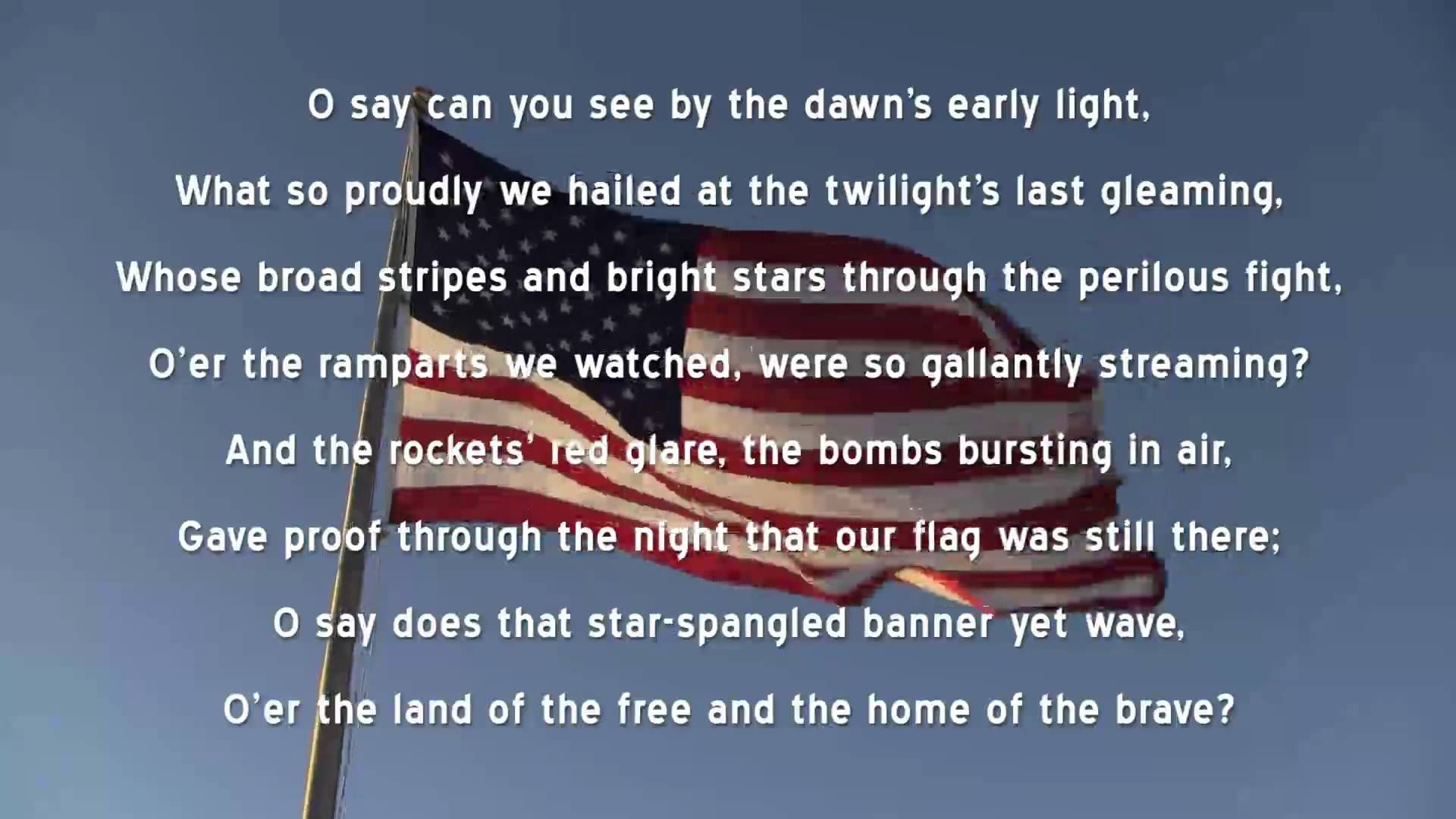 Star Spangled Banner U S National Anthem Lyrics