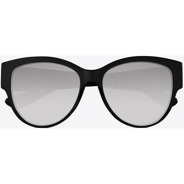 Saint Laurent Monogram M3 Sunglasses ($375) ❤ liked on Polyvore featuring accessories, eyewear, sunglasses, oversized sunglasses, over sized sunglasses, oversized eyewear, monogrammed glasses and yves saint laurent