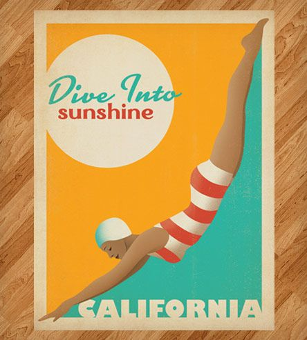 Dive Into Sunshine California Print By Anderson Design Group Florida Poster California Print Vintage Travel Posters