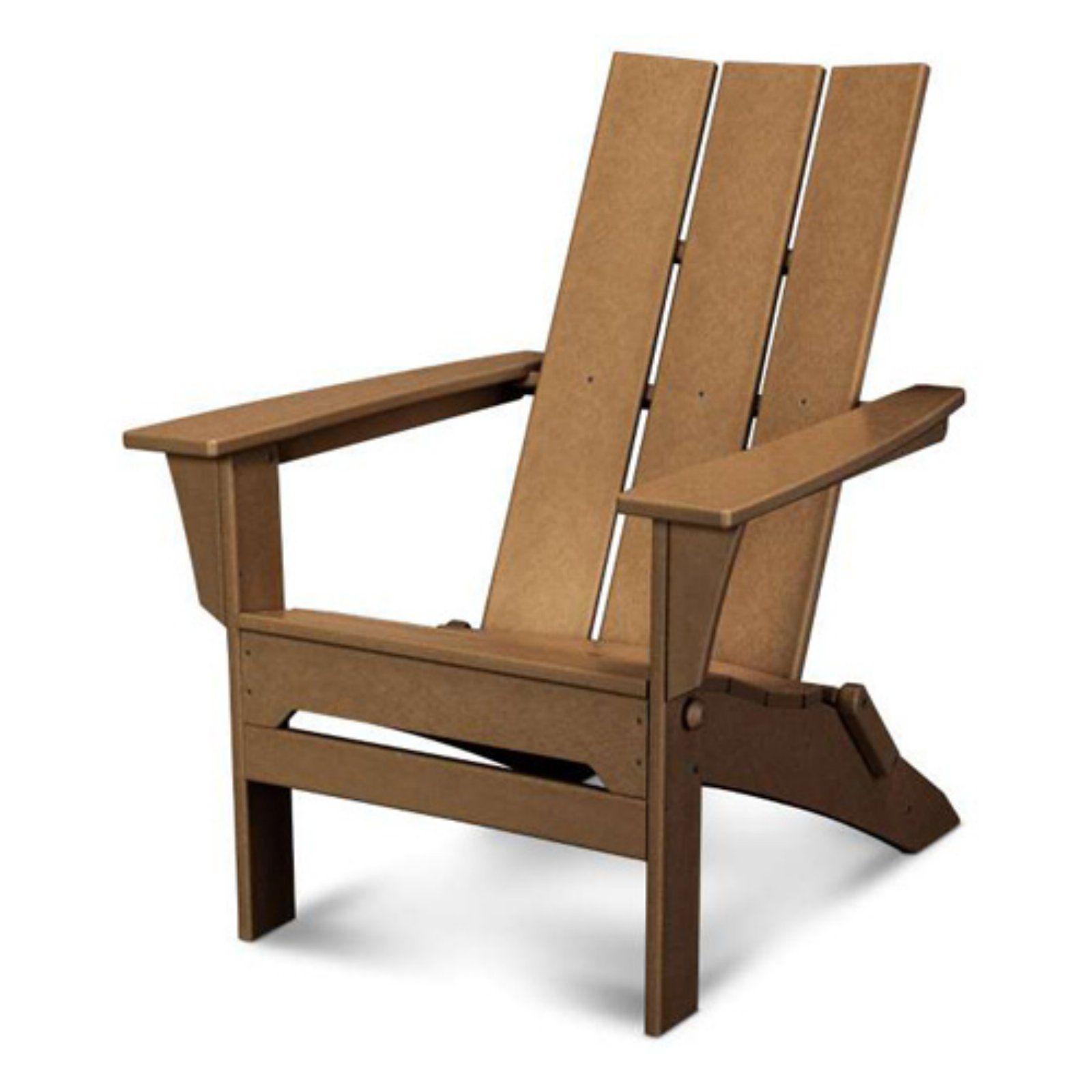 Outdoor POLYWOOD® Modern Folding Adirondack Chair Teak