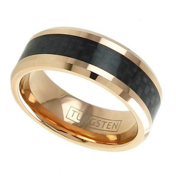 Tungsten Wedding Ring-Black Carbon Fiber-Engagement Ring ...