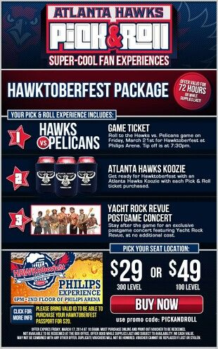 Hawks Tickets Discounts Hawktoberfest Package Game Ticket Koozie Postgame Concert Use Promo Code Pickandroll Use Game Tickets Hawks Game Admission Ticket