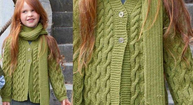 qualité prix de la rue magasiner pour le luxe Le cardigan et l'écharpe enfant | tricot et crochet