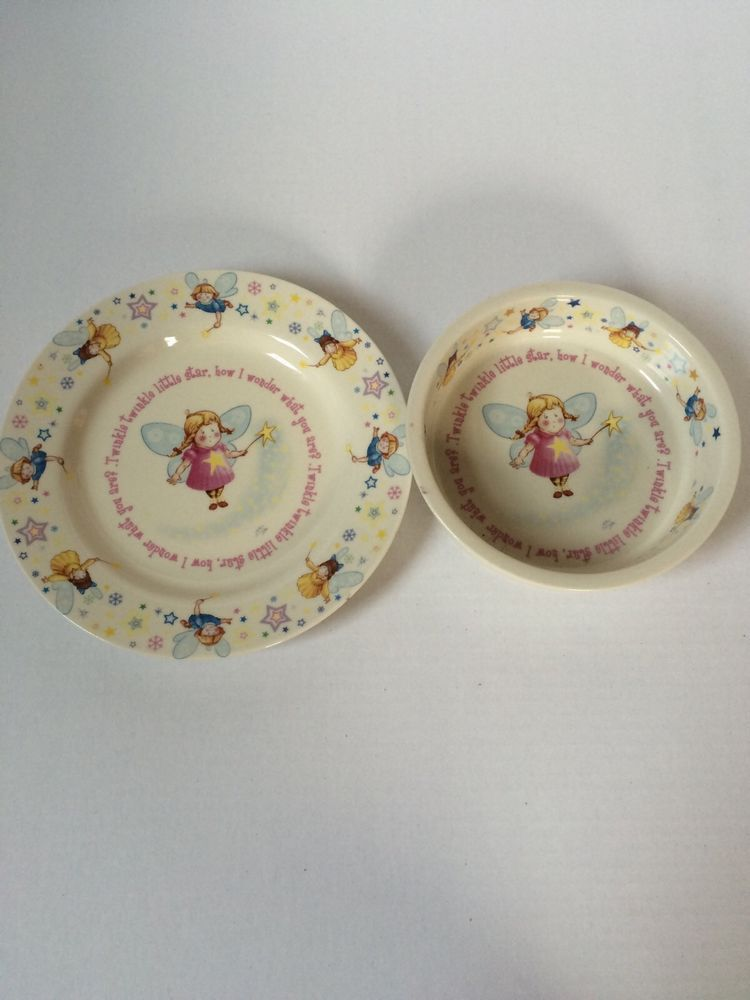 Anderton Pottery England Girl Childrens Plate Bowl Set Twinkle Little Star Fairy Andertonpottery Bowl Set Pottery Little Star