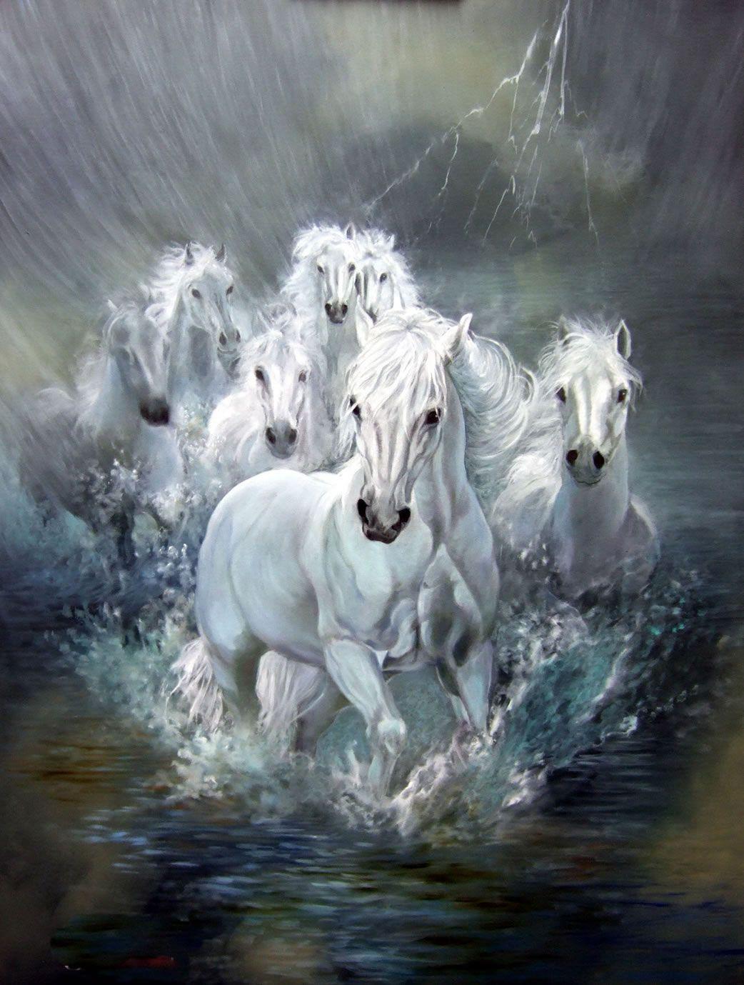 Sons Of Thunder White Horses Running Horse Painting