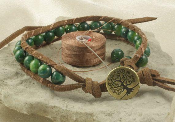 Antique Brass Tree of Life Beaded Leather Bracelet