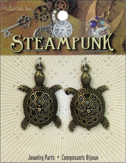 Shop   Category: Charms   Product: Solid Oak Charm Steampunk Sea Turtles Antique Gold