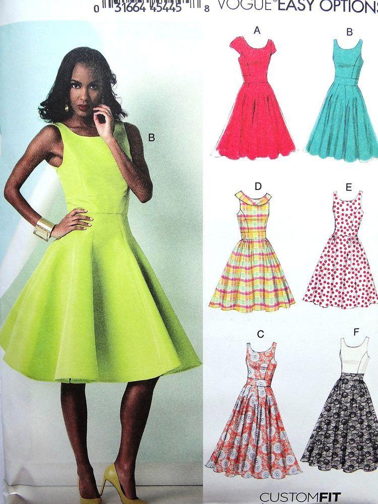 Lovely Vogue Options V8998 Misses Summer Dress Full Skirt