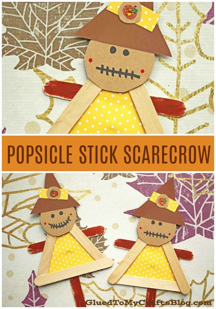 #gluedtomycrafts Popsicle Stick Scarecrow Puppets - Fall Kid Craft Idea