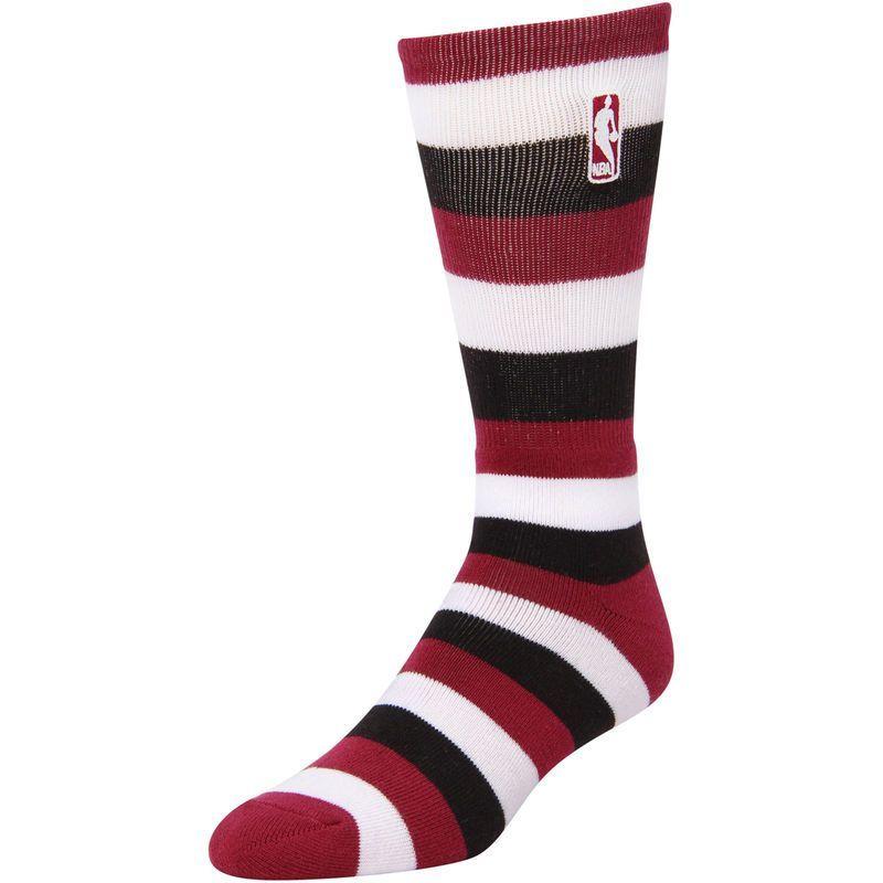 Nba Logo Pro Stripe Tri Blend Quarter Length Socks Maroon Black Nba Logo Nike Men Sport Fitness