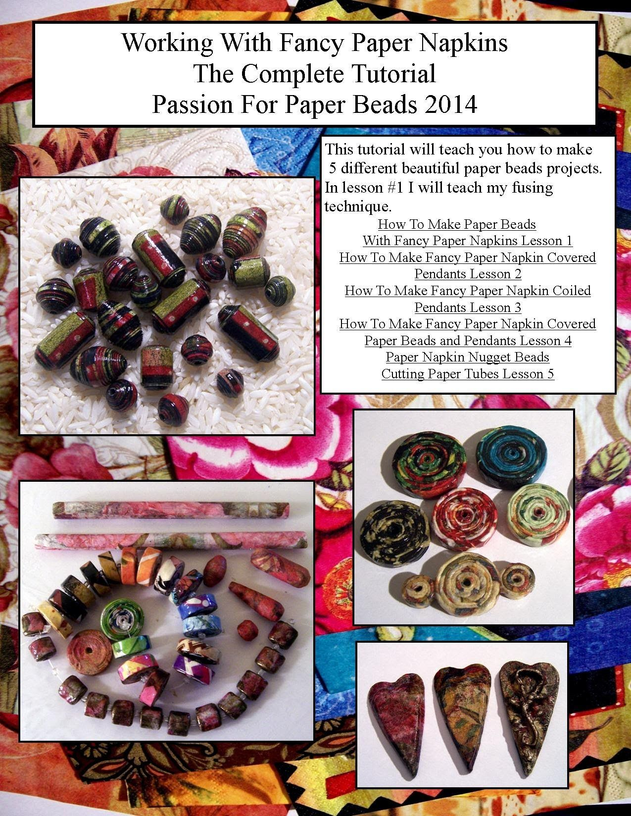 How To Make Paper Beads With Fancy Paper Napkins Lesson 1 #papernapkins