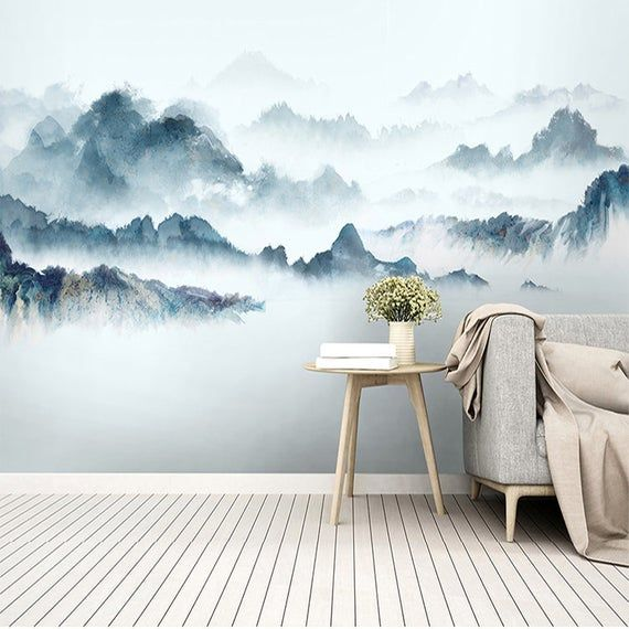 Watercolor Fosty Blue Mountain Landscape Wallpaper Wall Mural, Blue Watercolor Mountains Landscape Wall Mural, Mountain Wall Mural Decor #wallpaintingideas