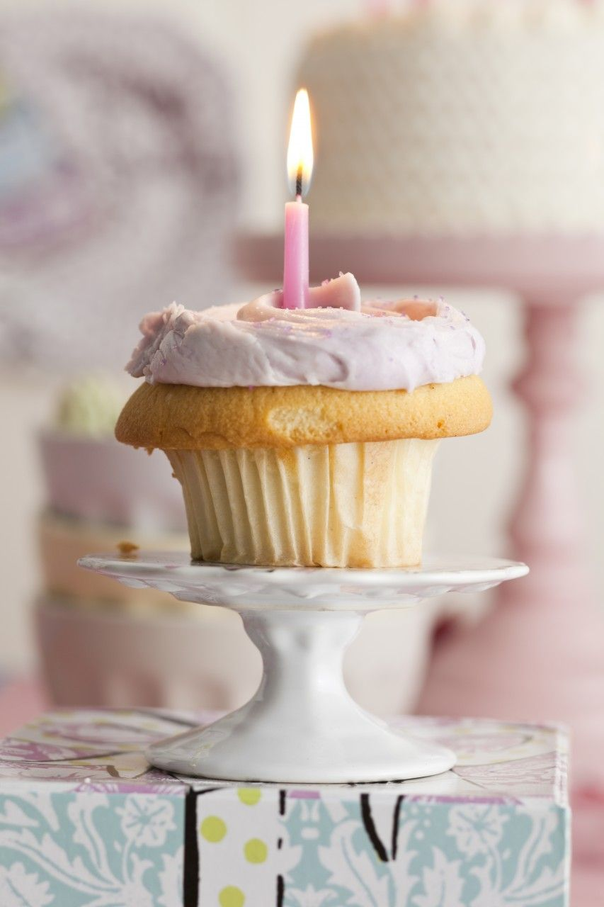 birthday cupcake stand. Could easily be made w/ a vintage