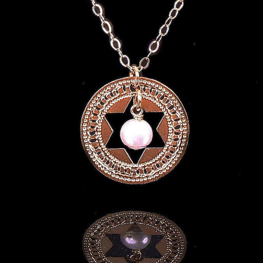 Star of David rose gold necklace Pearl Holy jewelry jewish