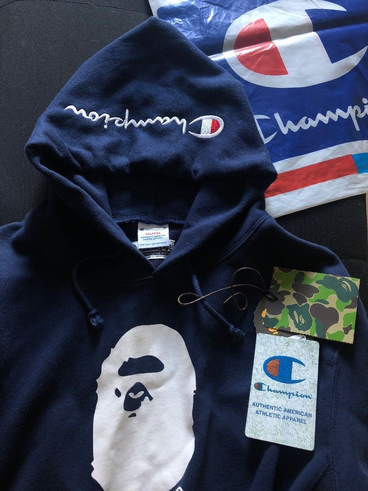 bbb8d4e54bec Bape X Champion Pullover Hoodie Navy Blue Bathing Ape L New Shirt Camo Ape   fashion  clothing  shoes  accessories  mensclothing  activewear (ebay link)