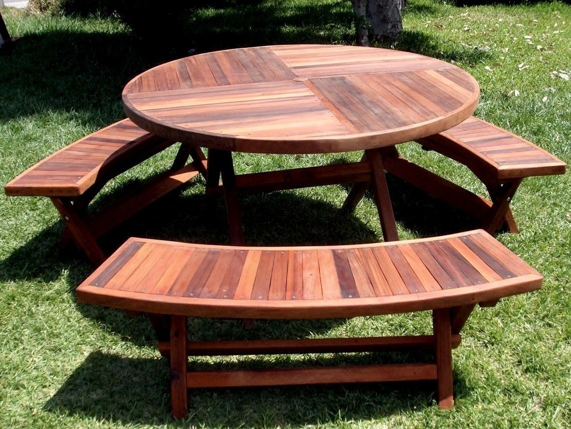 Excellent Wooden Round Picnic Table With Benches Picnic Round Pabps2019 Chair Design Images Pabps2019Com