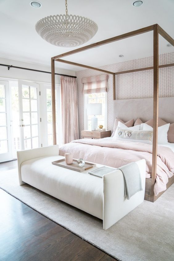 Photo of Jasmine Tookes Los Angeles Home Tour – neutral blush bedroom with canopy bed