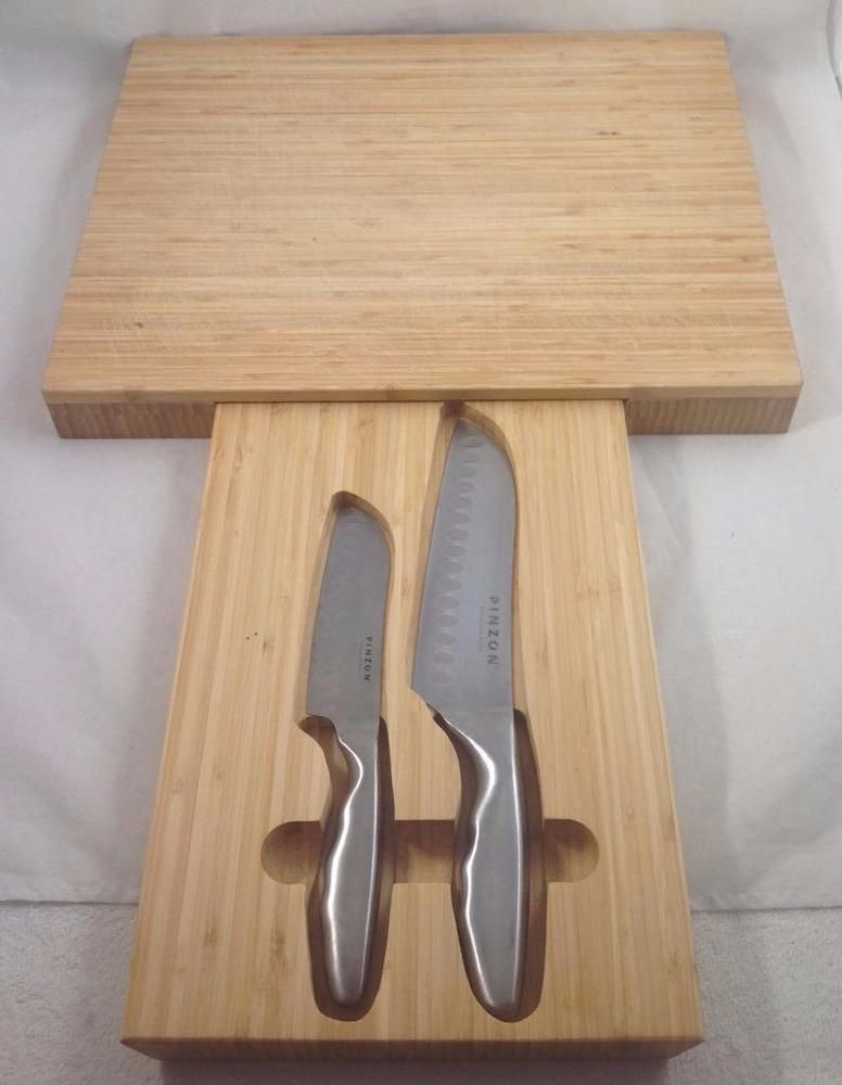 Bamboo Cutting Board Hidden Knife Storage Drawer Pinzon 2 Pc Set 16 X13