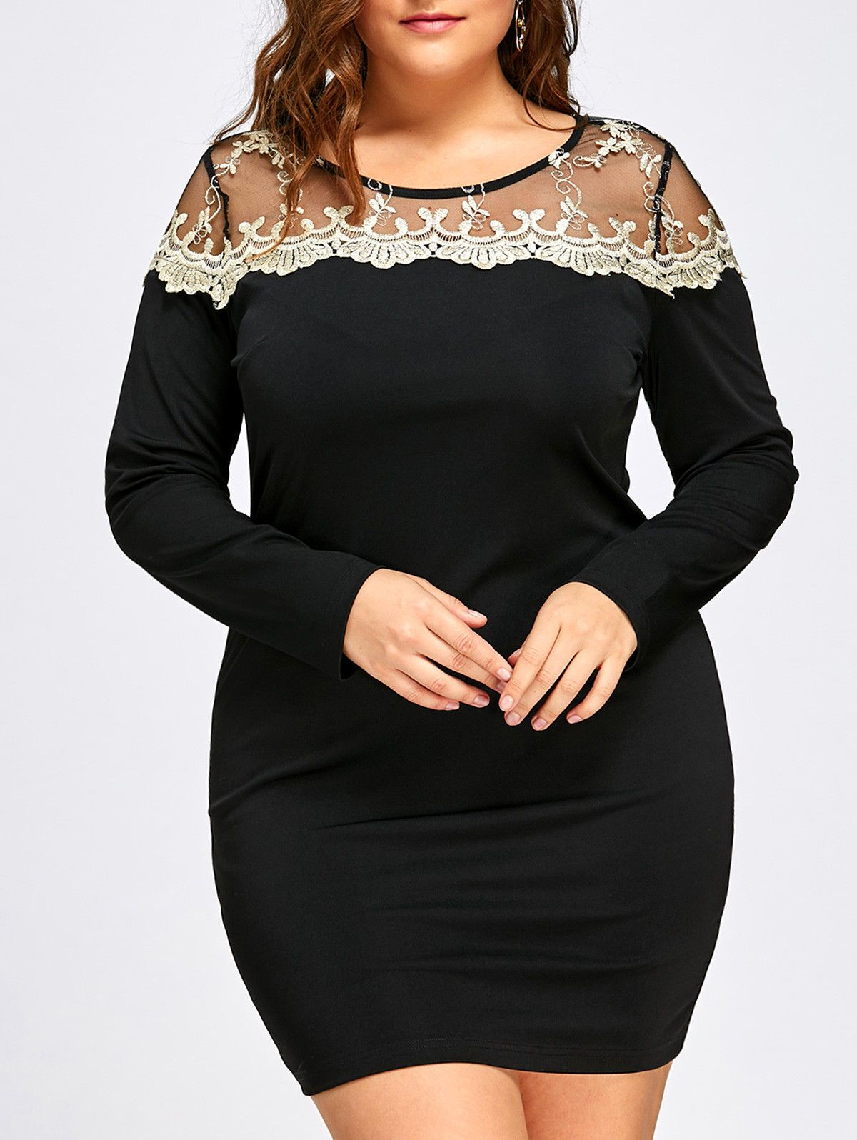fe1d61c08c263  13.29 - Plus Size Xl-5Xl Women Dress Mesh Lace Insert Mini Bodycon Evening  Party Dress  ebay  Fashion