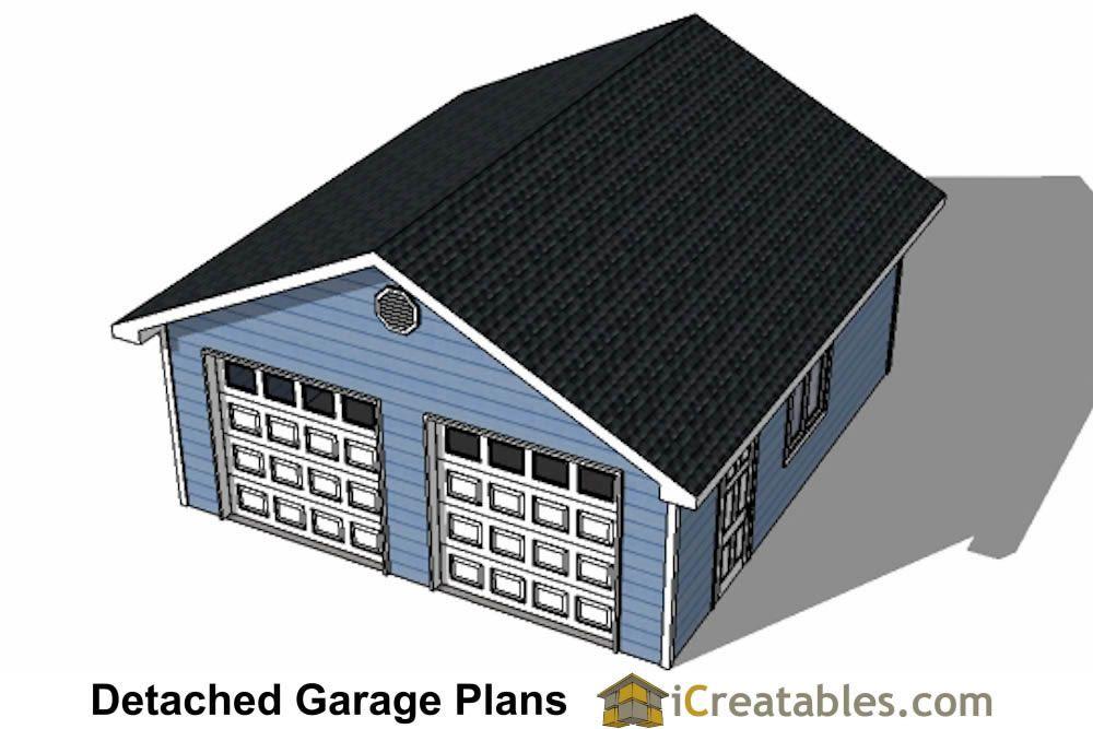 22x22 Garage Two Doors Top View Garage Plans Detached Garage Plans Detached Garage