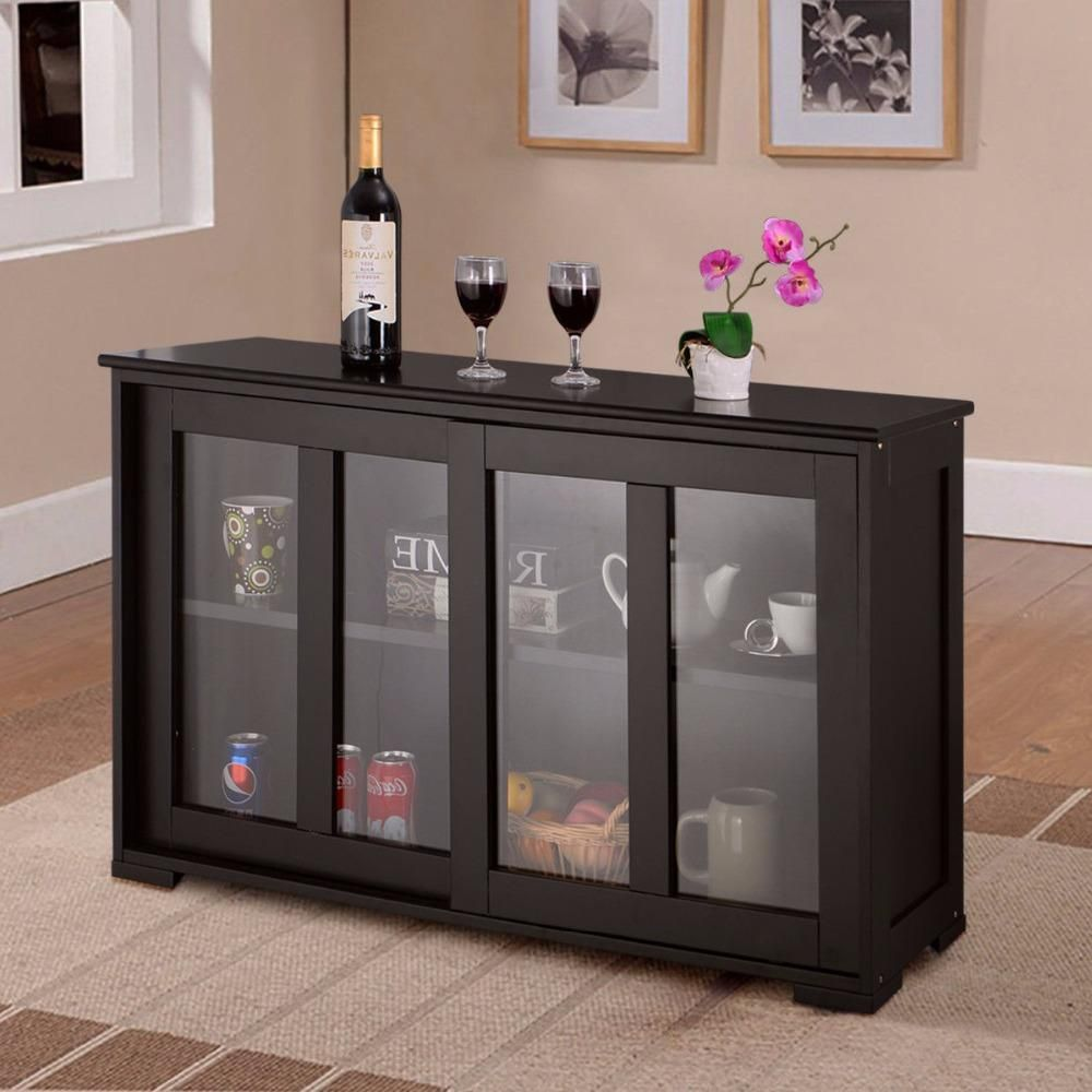 Giantex Home Storage Cabinet Sideboard Buffet Cupboard Glass Sliding