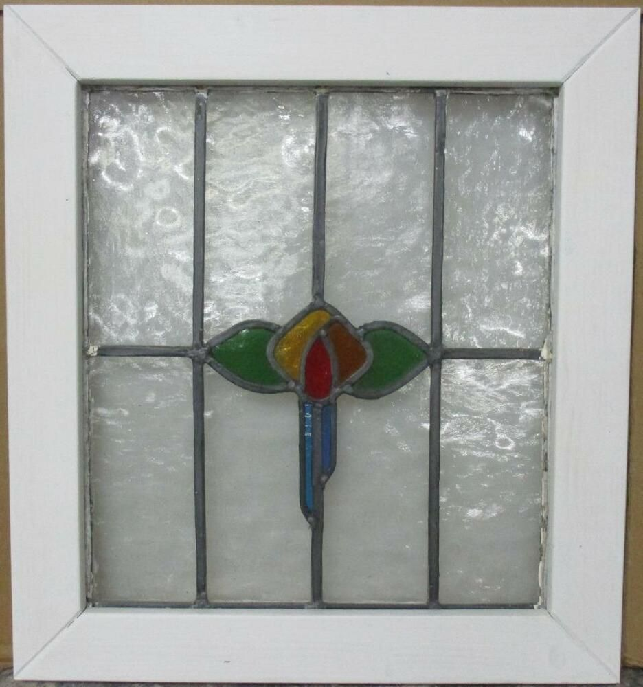 """MID SIZED OLD ENGLISH LEADED STAINED GLASS WINDOW Awesome Geometric 23.5/"""" x 21/"""""""