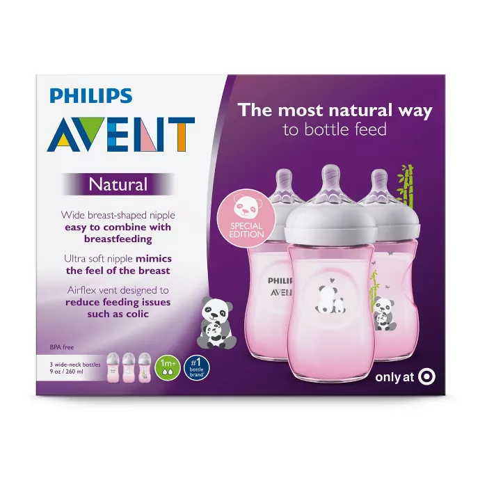 Philips Avent Natural Baby Bottle with Pink Elephant Design 9oz ...