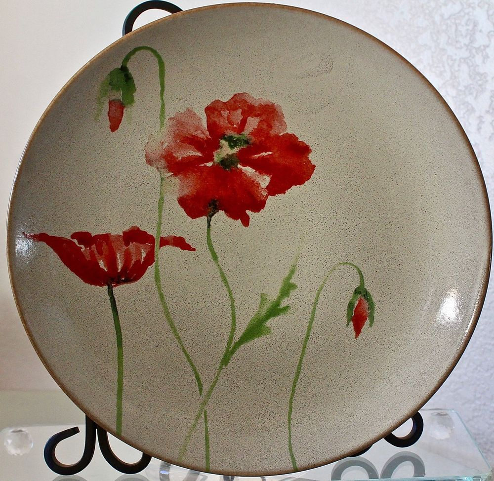 222 fifth amapola dinner plate round 10 3/4th cream red poppies ...