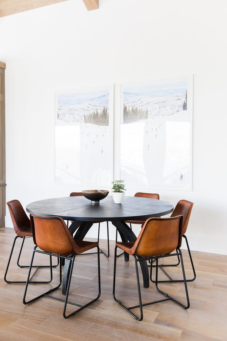 Black Table Leather Chairs Studio Mcgee Minimalist Dining Room Modern Dining Room Dining Room Inspiration
