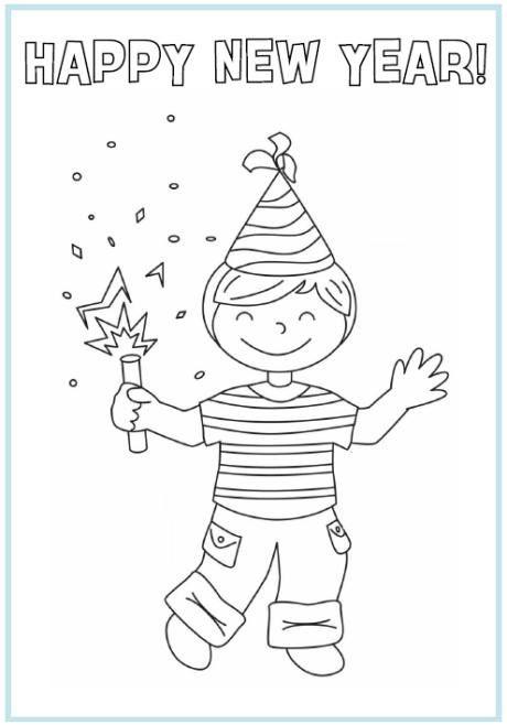 happy new year kerstkleurplaten gelukkig nieuwjaar